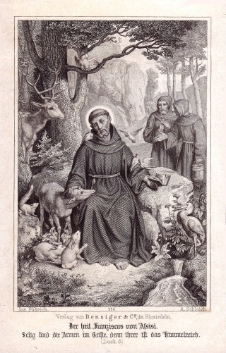 St. Francis prays over the animals Bensiger